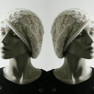 knit pattern beanie beret in revers stockinette and cables