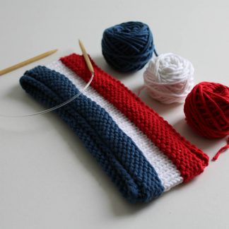 headband to knit in cotton with 3 colors