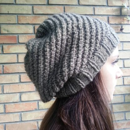 free knit pattern beanie hat olique rib