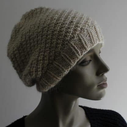 knit a beanie hat in oblique rib with a free pattern