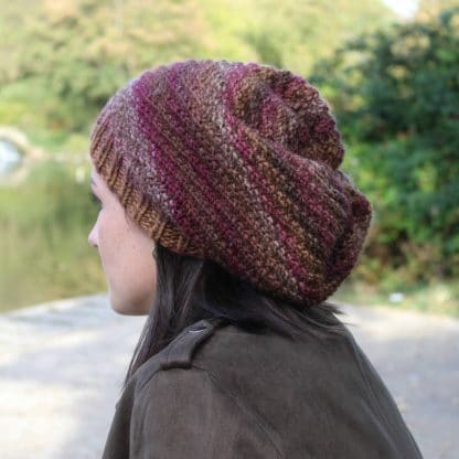 #knit a slouchy beanie #hat in oblique rib