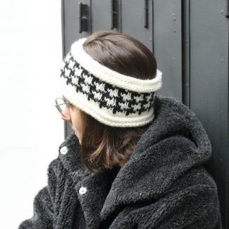 knit headband with motif pied-de-poule