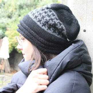 how to knit a slouchy hat in jacquard with circular needles